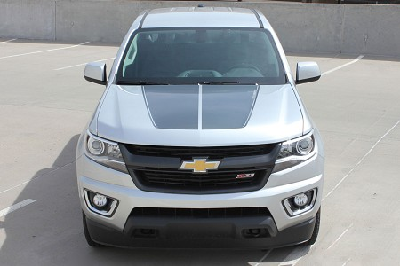 "2015 2016 2017 2018 Chevy Colorado Hood Decals Stripes ""SUMMIT"" Split Factory OEM Style Truck Racing Stripe Vinyl Graphics Kit"
