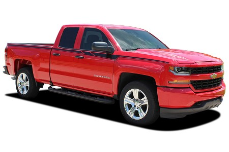 2014-2017 2018 Chevy Silverado Stripes ACCELERATOR Truck Vinyl Graphic Decals Upper Body Accent Side Door Special Edition Rally Kit