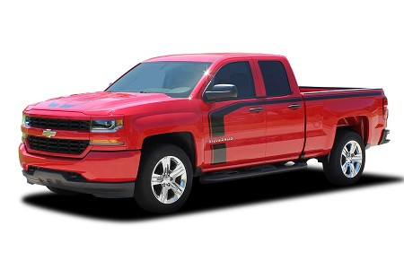 2016 2017 2018 Chevy Silverado Special Edition Stripes FLOW Rally Decals Truck Hood and Side Door Vinyl Graphics Kit