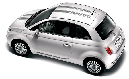 "2007-2018 Fiat 500 ""CHECKERED RALLY"" Hood and Roof Racing Stripes Vinyl Graphic Kit"