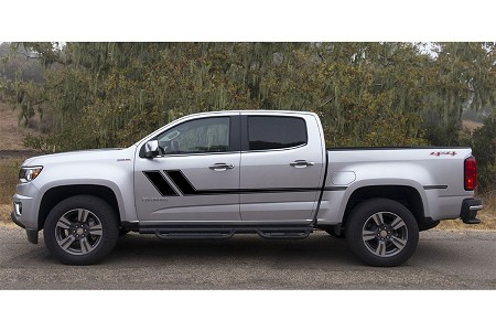 """TRACK XL"" Chevy Colorado Mid Body Line Door Rally Accent Vinyl Stripes Decal Graphics Kit"