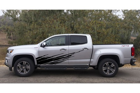 RIPPED Lower Body Door Rocker Panel Splash Rip Style Vinyl Graphics Decal Stripe Kit for Chevy Colorado