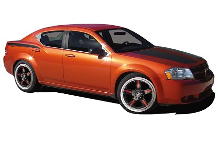 2008-2014 Dodge Avenger Decals AVENGED Hood, Quarter Panel, and Trunk Vinyl Stripes Kit