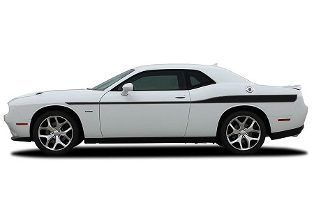 2008-2020 Dodge Challenger Side Stripes ROADLINE with Pin Stripe Outline Decals Body Line Side Door Panel Vinyl Graphics Kit