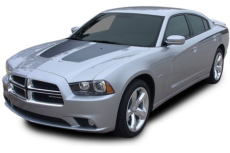 "2011-2014 Dodge Charger ""SPLIT HOOD"" Mopar Style Vinyl Graphics Stripe Decal"