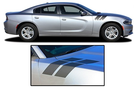 2015-2021 Dodge Charger Hood Decals DOUBLE BAR 2 Vinyl Stripes Hash Marks Mopar Style Graphics Kit