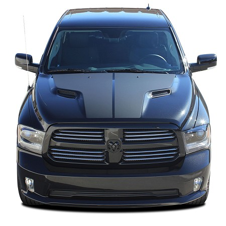 "2009-2018 Dodge Ram Rebel ""RAM HEMI HOOD"" Solid Center Winged Hood Vinyl Graphic Truck Stripe Kit"