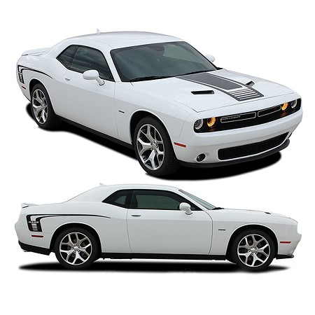 2008-2020 Dodge Challenger Decals CUDA STROBE COMBO Stripes Rear Quarter Panel Hood Rally Vinyl Graphics Mopar Kit