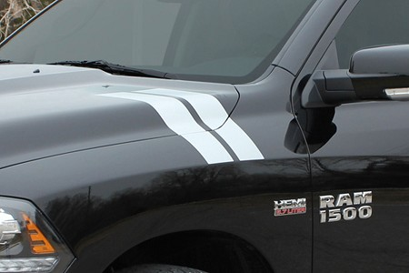 2009-2018 Dodge Ram HASH MARKS Double Bar Truck Hood Vinyl Graphic Stripe Kit
