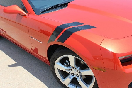 "2010-2013 and 2014-2015 Chevy Camaro ""HASH MARKS"" Double Bar Lemans Hood and Fender Vinyl Graphics Stripes Kit"
