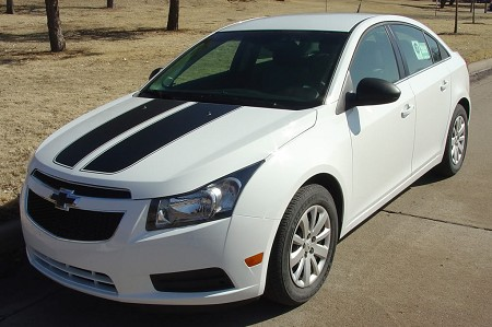 "2008-2015 Chevy Cruze ""CRUZIN RALLY"" Racing Stripes Hood and Trunk Vinyl Graphics Kit"