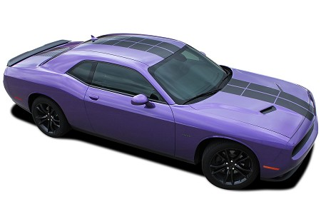 "2008-2017 2018 Dodge Challenger ""PULSE RALLY STRIPES"" Strobe Style 10 inch Racing Vinyl Graphics Rally Decal Kit"