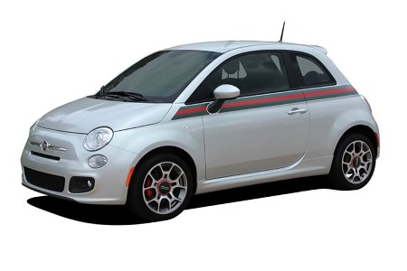 2007-2018 Fiat 500 ITALIAN APPLIQUE Gucci Red and Green Door Stripes Vinyl Graphic Kit