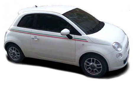 2007-2018 Fiat 500 ITALIAN SIDE Red and Green Door Stripes Vinyl Graphic Kit