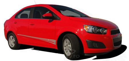 2012-2016 Chevy Sonic Hood Decals FLARE and Sides Body Stripes Vinyl Graphics Kit
