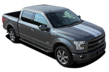 2015-2020 Ford F-150 Racing Stripes F-RALLY Split Hood Decals Center Rally Vinyl Graphic Kits