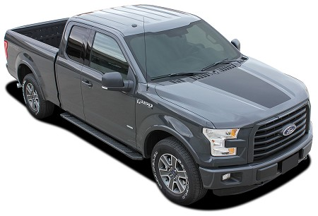 2015-2020 Ford F-150 RACER HOOD Stripes Decal Blackout Vinyl Graphic Kits