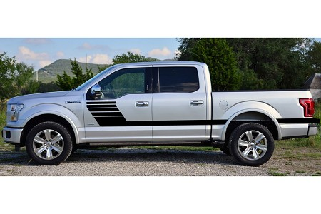 2015 2016 2017 2018 2019 Ford F-150 Stripes LEAD FOOT Special Edition Appearance Package Hockey Stripe Decals Vinyl Graphics Kit