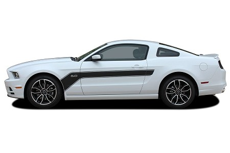 2013 2014 Ford Mustang Body Stripes FLIGHT Hockey Decals Vinyl Graphics Kit for Sides and Hood
