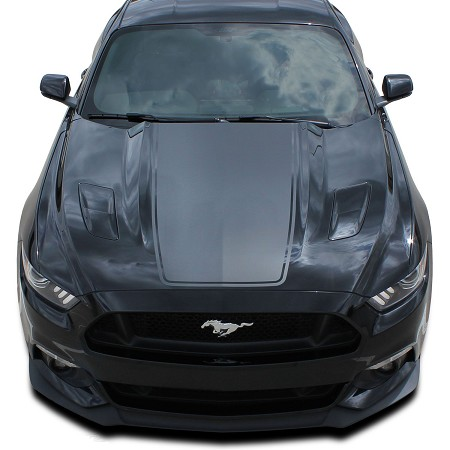 2015 2016 2017 Ford Mustang Super Snake MEGA HOOD Mohawk Center Wide Racing and Rally Stripes Vinyl Decal Graphics Kit
