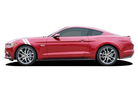 2018 2019 Ford Mustang DOUBLE BAR Hood to Fender Hash Mark Side Stripes Vinyl Decal Graphics Kit