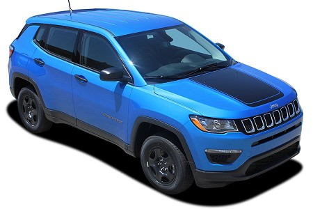 "2017-2019 Jeep Compass Hood Vinyl Graphics ""BEARING"" Decals Stripes Center Blackout Kit"