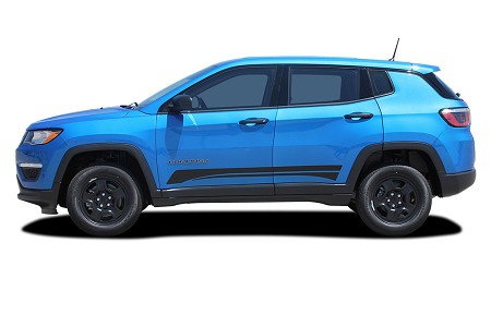 "2017-2019 Jeep Compass Decals ""COURSE"" Stripes Vinyl Graphics Lower Body Rocker Accent Kit"