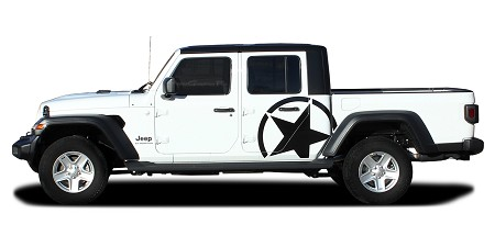 2020-2021 Jeep Gladiator Side Star Decal ALPHA SIDES Body Vinyl Graphic Stripes Kit