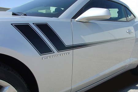 "2010-2013 and 2014-2015 Chevy Camaro ""TRACK"" Hockey Stick Side Vinyl Stripes Kit"