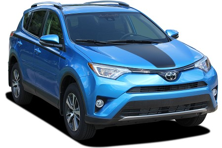 2016-2019 Toyota RAV4 HOOD Decal Wrap Blackout Stripe 3M Vinyl Graphics Stripes Kit